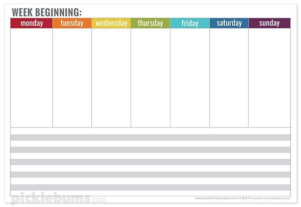 Free Printable Weekly Planner - Perpetual Calendar Template
