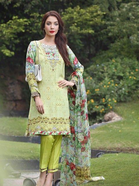 0e0428db0f Light Green color Camric Cotton fabric Lawn Suit Long Anarkali, Anarkali  Suits, Lawn Suits