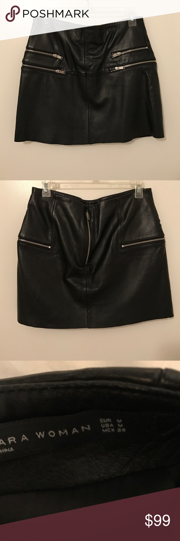 Zara Woman Leather Skirt Size: medium; gently worn but with lots of life left; leather is in great condition with a minor scuffing in the front of the skirt as shown in pic; 100% real leather, suede leather inner lining. Zara Skirts Mini