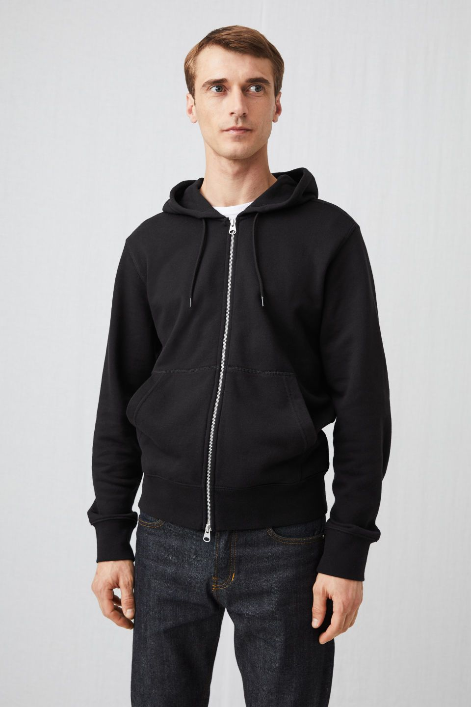 476115d9c011af Model front image of Arket 340 gsm french terry hoodie in black ...