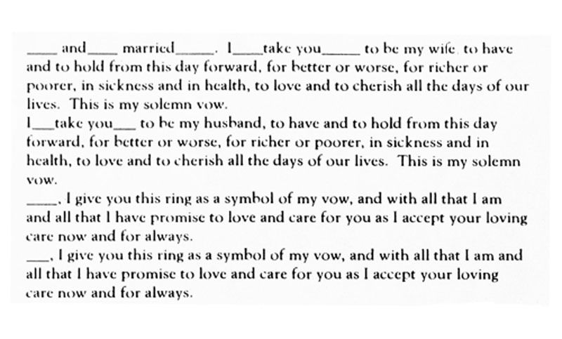 Traditional English Vow Text