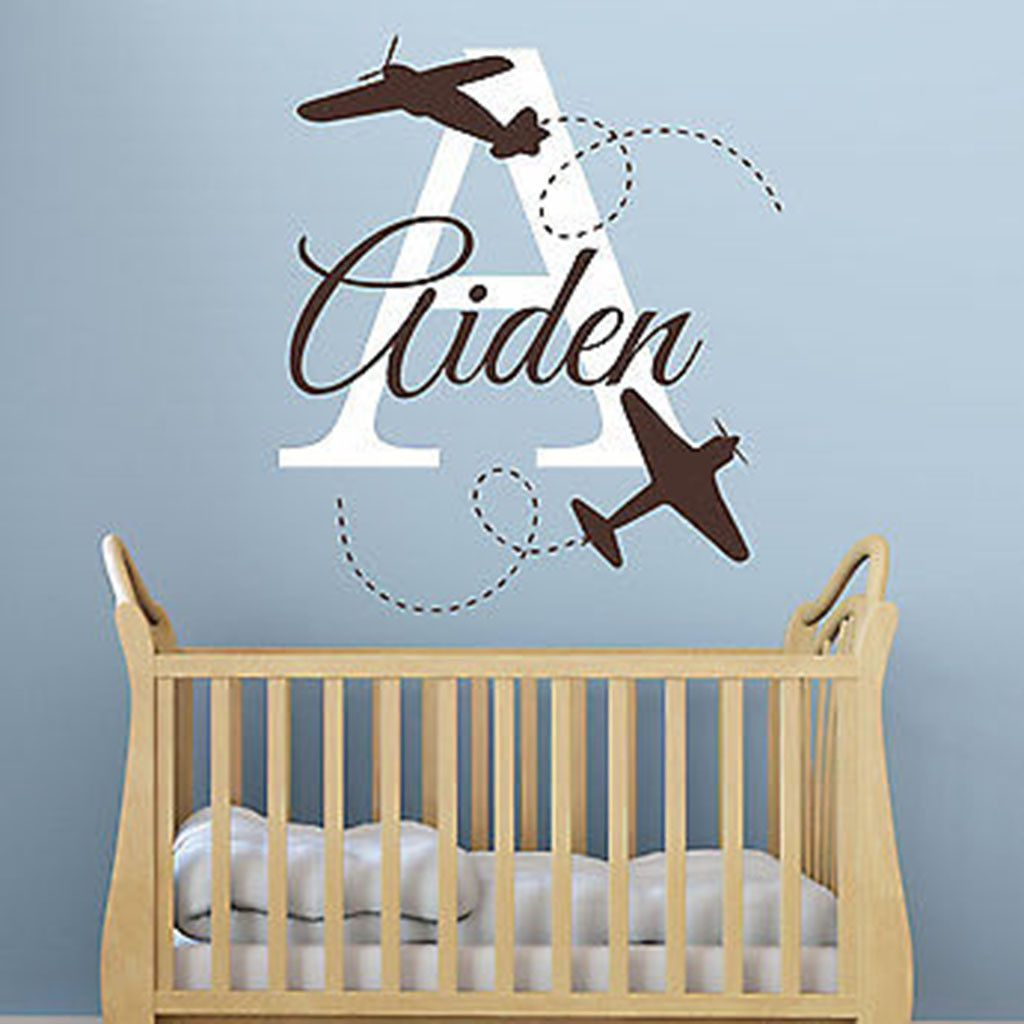 Planes Initial And Name Personalized Vinyl Wall Decal Sticker Initials Decal Personalized Decals Vinyl Wall Art Decals