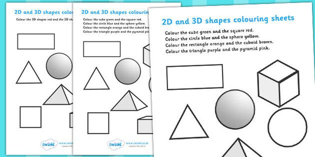 2D and 3D Shapes Colouring Sheets | Early Learning | Pinterest ...