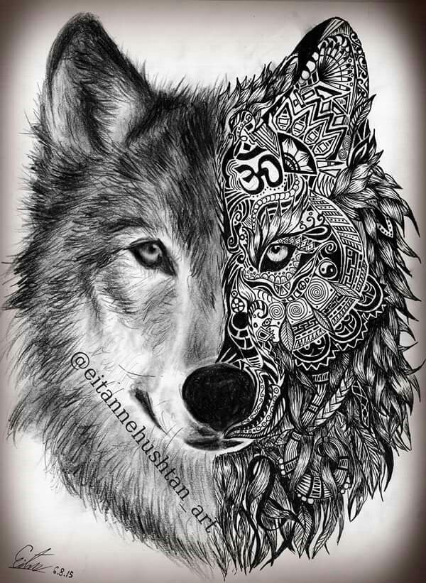 Moon And Wolf Tribal Wolf Tattoo Wolf Tattoo Design Tattoos