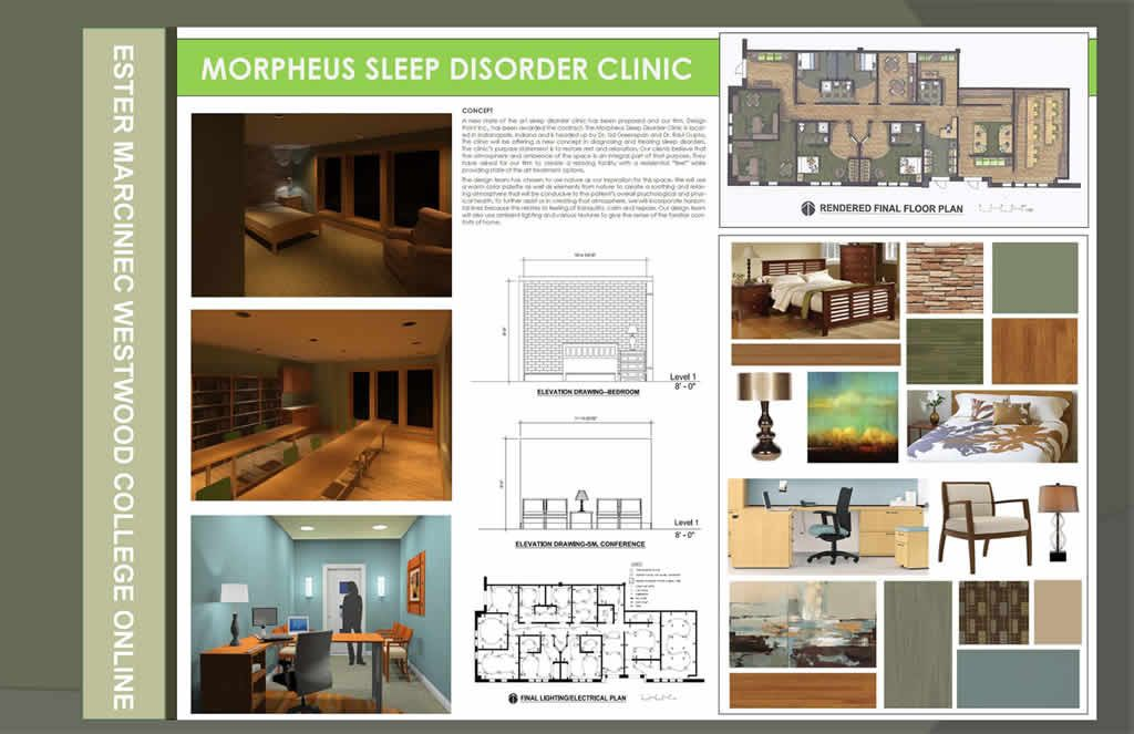 Mixed use commercial interior design project sleep disorder clinic portfolio inspiration for Online interior design portfolio