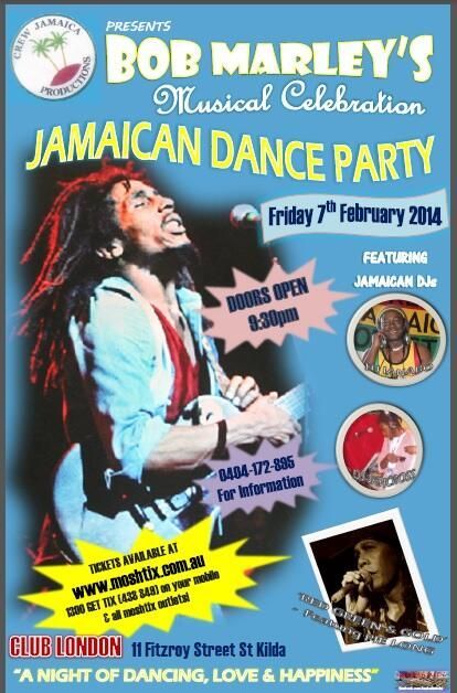 Poster by @KaZbAhMeDiA  *Follow on Twitter Facebook & Instagram* Jamaican #Dance #Party @Club London 07/02/14  #StKilda #Melbourne #dance #party #reggae