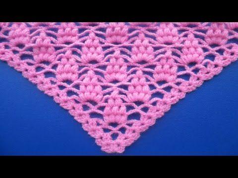Aprende a tejer chal triangular punto uvas / tutorial | Patrones ...