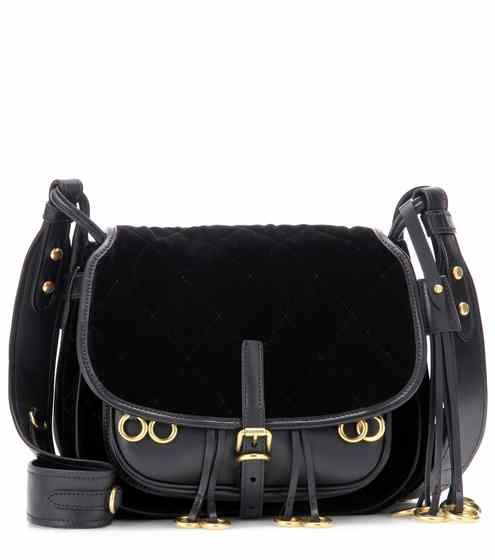 a8fcd9bb88e2 Corsaire velvet and leather crossbody bag