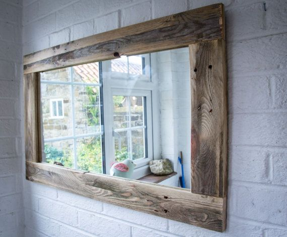 Rustic Mirror Made From Reclaimed Pallet Wood Etsy Rustic Bathroom Mirrors Rustic Mirrors Wood Pallets