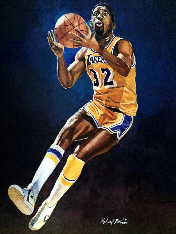Magic Johnson Lakers Art Print By Michael Pattison In 2021 Magic Johnson Lakers Magic Johnson Michael Jordan Pictures