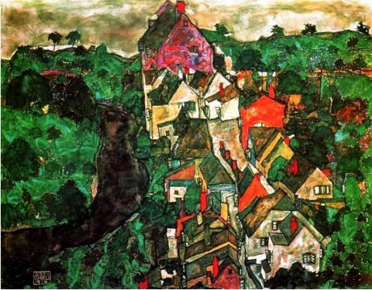 Egon Schiele, Paesaggio a Krumau, olio su tela, 1915-16.