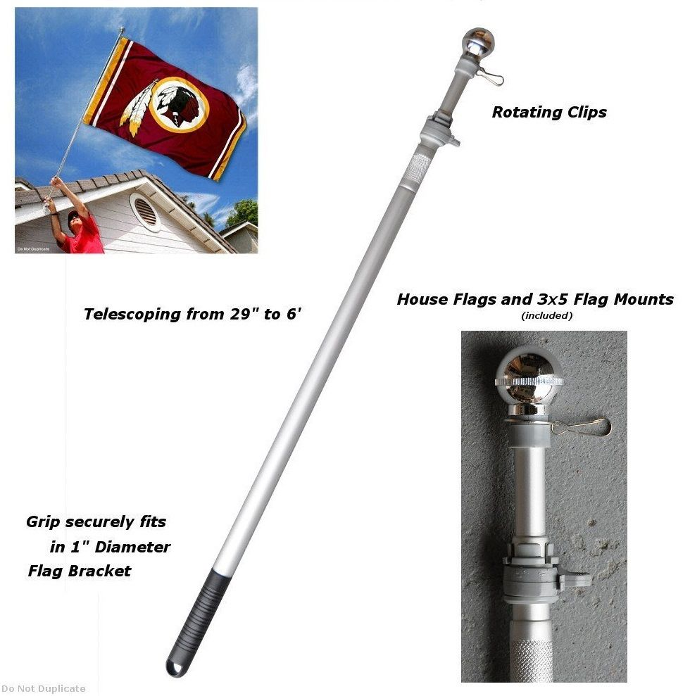 Aluminum Spinning Flagpole Portable 6 Foot Long Nfl Flags Metal Rotating Stadium Adjusts To Any Length Between 30 And 6 Feet Two 2 Anti Flag Pole House Flags