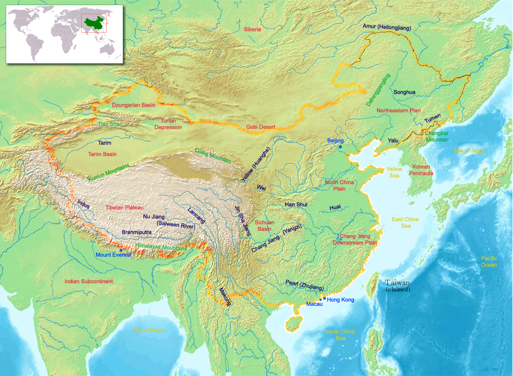 map of china with physical features This Map Shows The Physical Features Of China It Shows The map of china with physical features