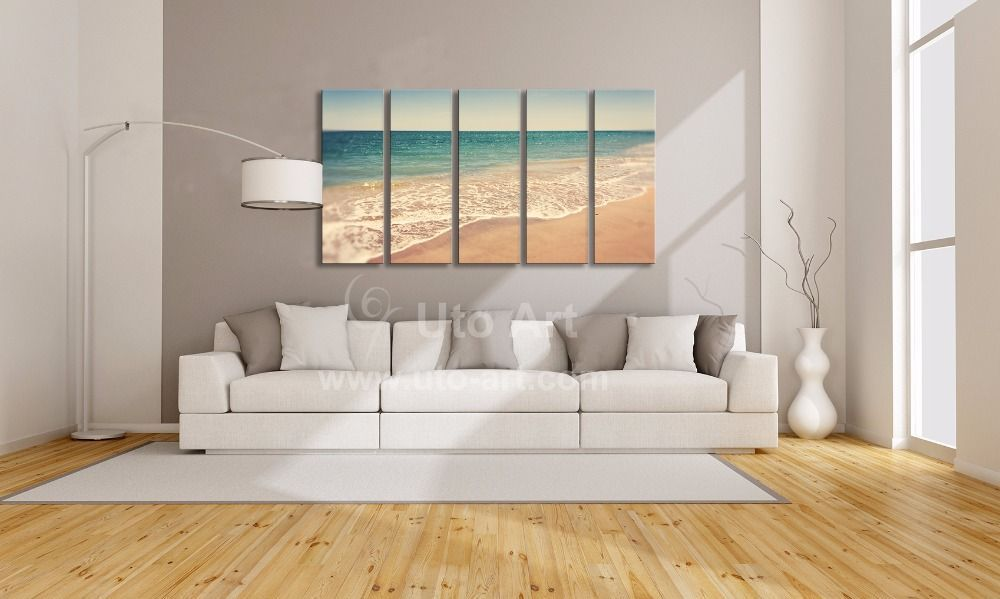 Modern 5 Panel Wall Art Painting Ocean Beach Decor Canvas Printed Picture Cheap Wall Decor Painting Fo Metal Tree Wall Art Childrens Wall Decor Baby Wall Decor