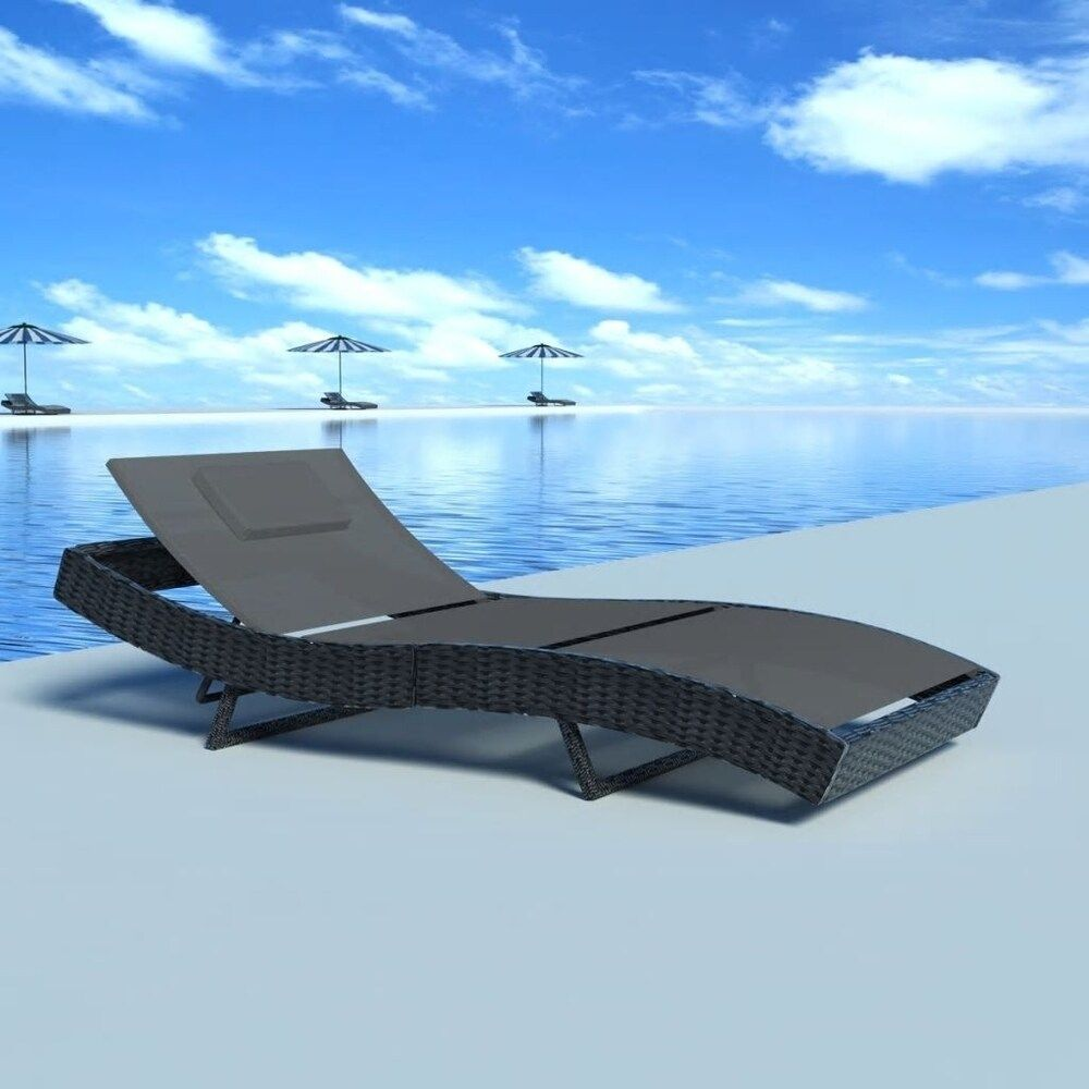 Sun Lounger Poly Rattan Black Liveditor Leather Outdoor Seating