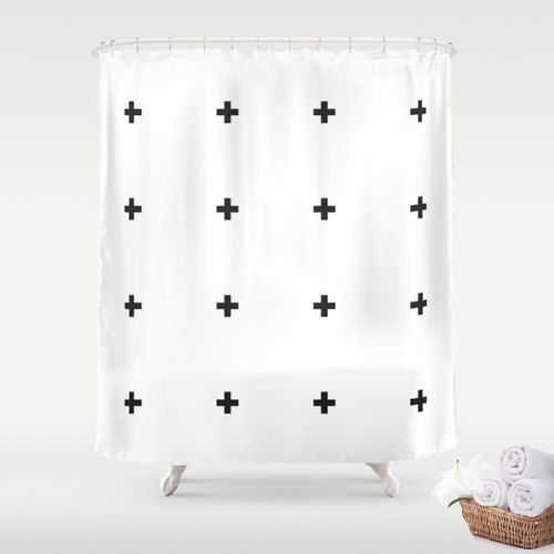 Premium Fabric Shower Curtain Small Black Minimalist Swiss Crosses