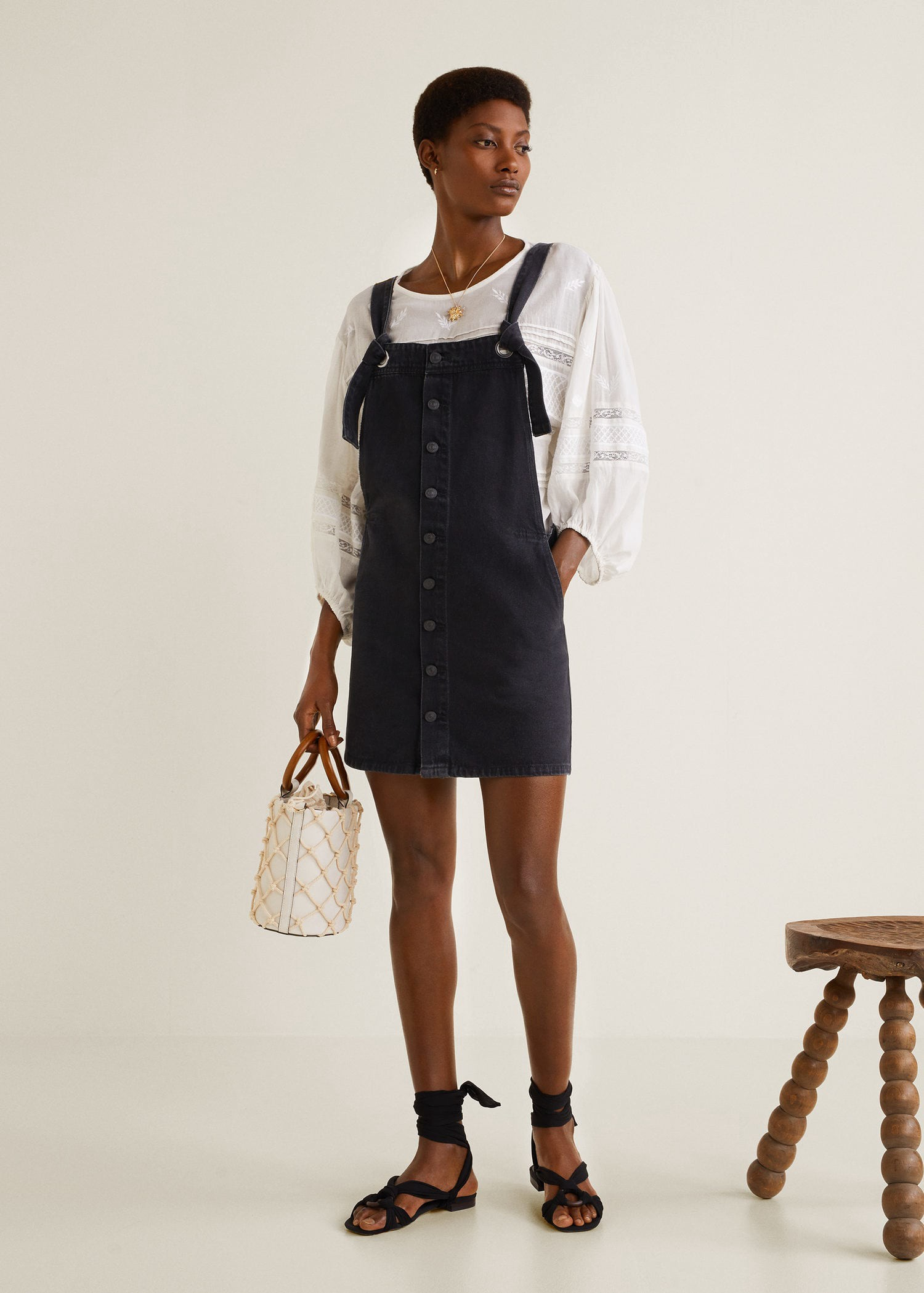 24991573b735 Black denim pinafore dress by Mango   Products   Denim pinafore ...