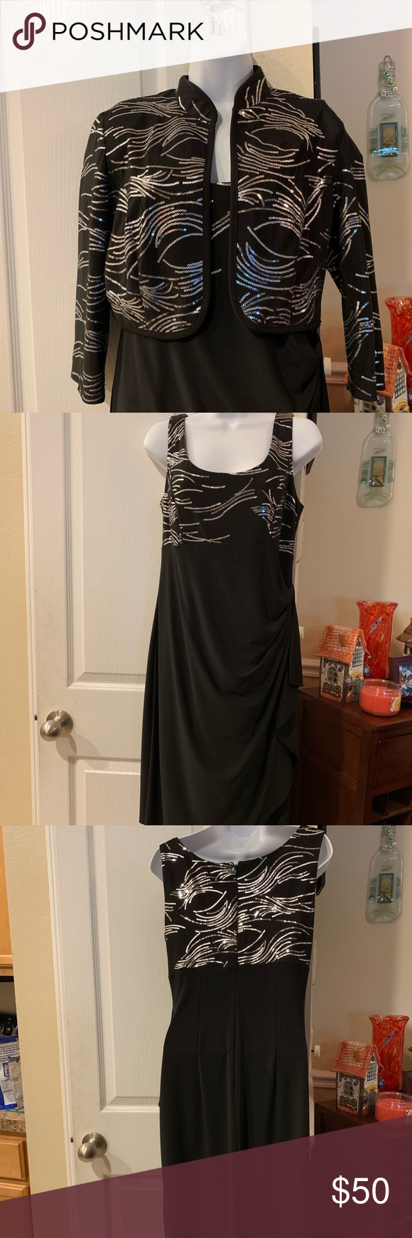 Evening Dress Worn Once Black Dress With Sequins Gathers On The Left Side Picture Shown Wear With Or With Evening Wear Dresses Evening Dresses Jacket Dress [ 1740 x 580 Pixel ]