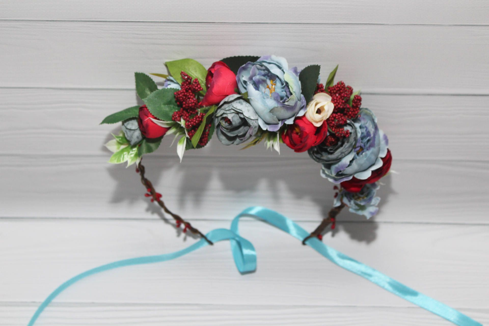 Bridal flower crown airy blue red wedding flower crown flower airy blue red wedding flower crown flower headband leaves blue hair flowers little girl wreath asymmetric izmirmasajfo Image collections