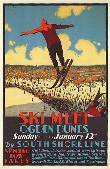 JUMP SKI MEET OGDEN DUNES SOUTH SHORE LINE SKIING SPORT VINTAGE POSTER REPRO