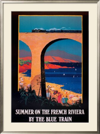 SUMMER ON THE FRENCH RIVIERA BY THE BLUE TRAIN SEA TRAVEL VINTAGE POSTER REPRO