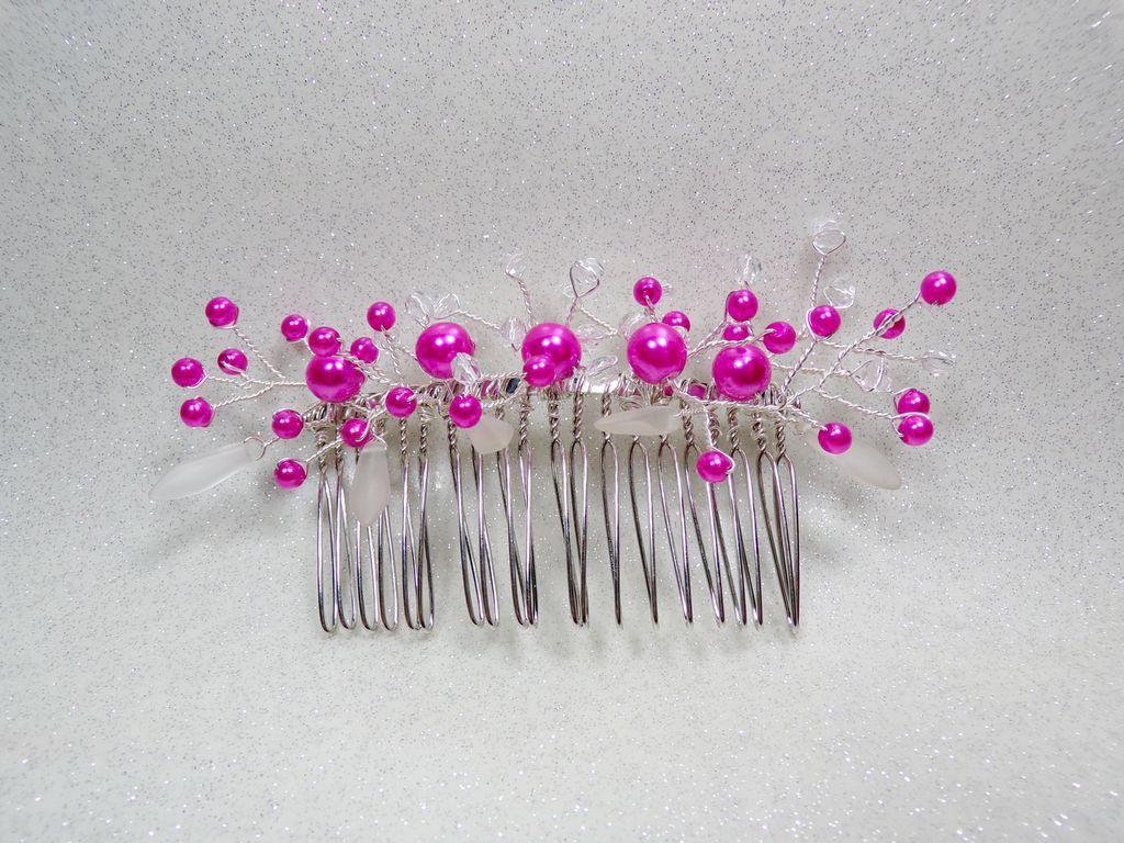 Peigne Mariee Perles Fuchsia Et Blanc Accessoires Coiffure Par Douce Fantaisie Accessoire Coiffure Bijoux Mariage Accessoire Mariage