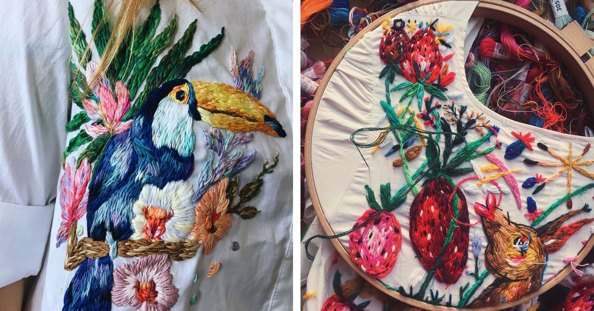bb73701a0 Lisa Smirnova stitches custom embroidered clothing to transform otherwise  ordinary garments into colorful works of art