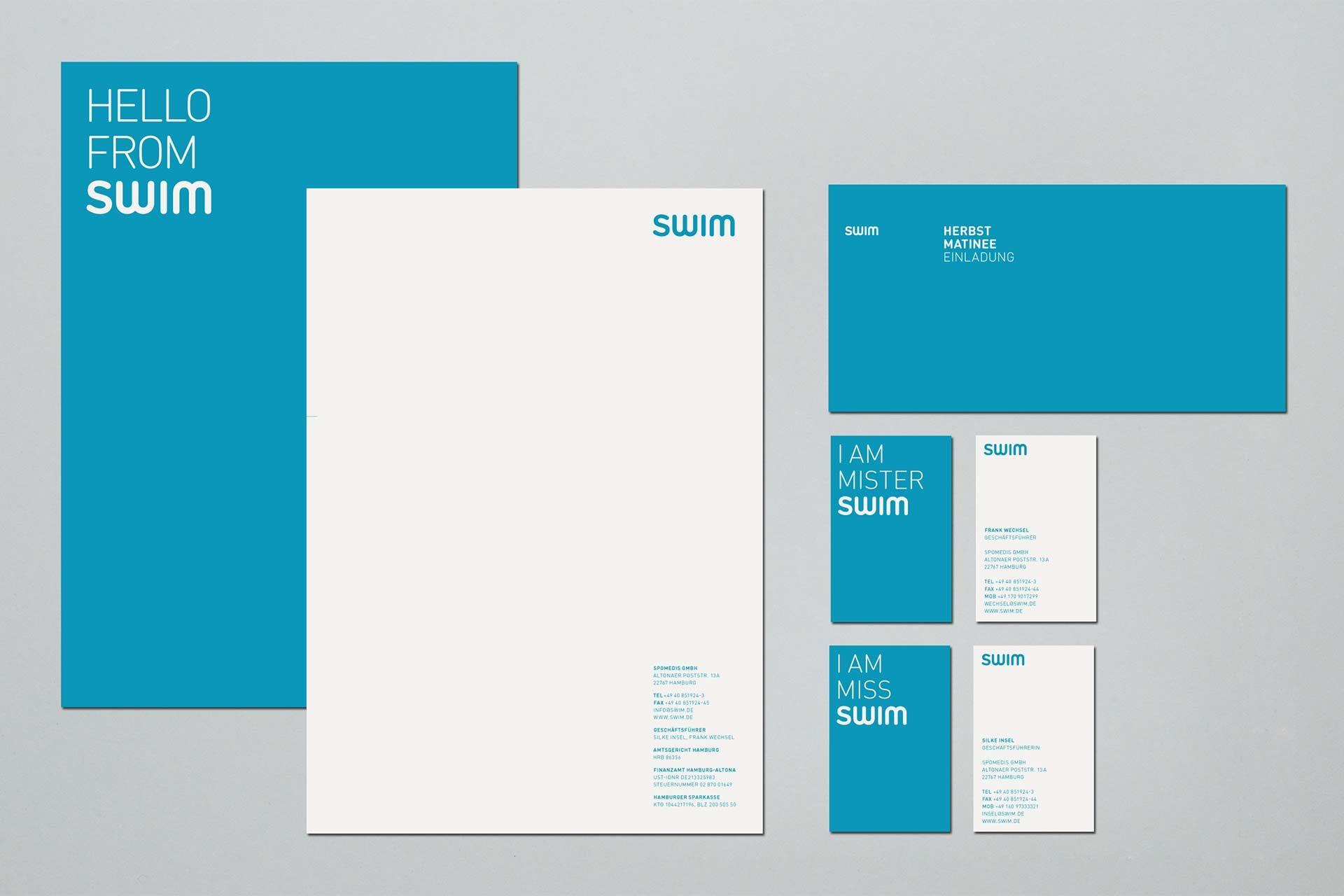 Swim Studio Una Briefkopf Design Briefpapier Design Briefbogen