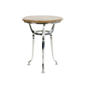 Round Aluminum Table With Rustic Wooden Top
