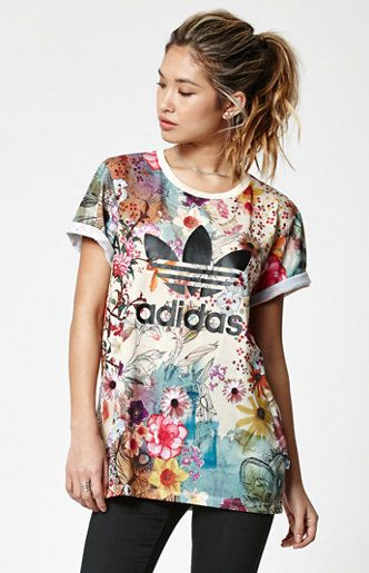 adidas collaborates with Brazil s The FARM Company to present the colorful  Farm Confete Trefoil Boyfriend T-Shirt. Adding the flair of Rio de Janeiro  to ... fc29d3637bc