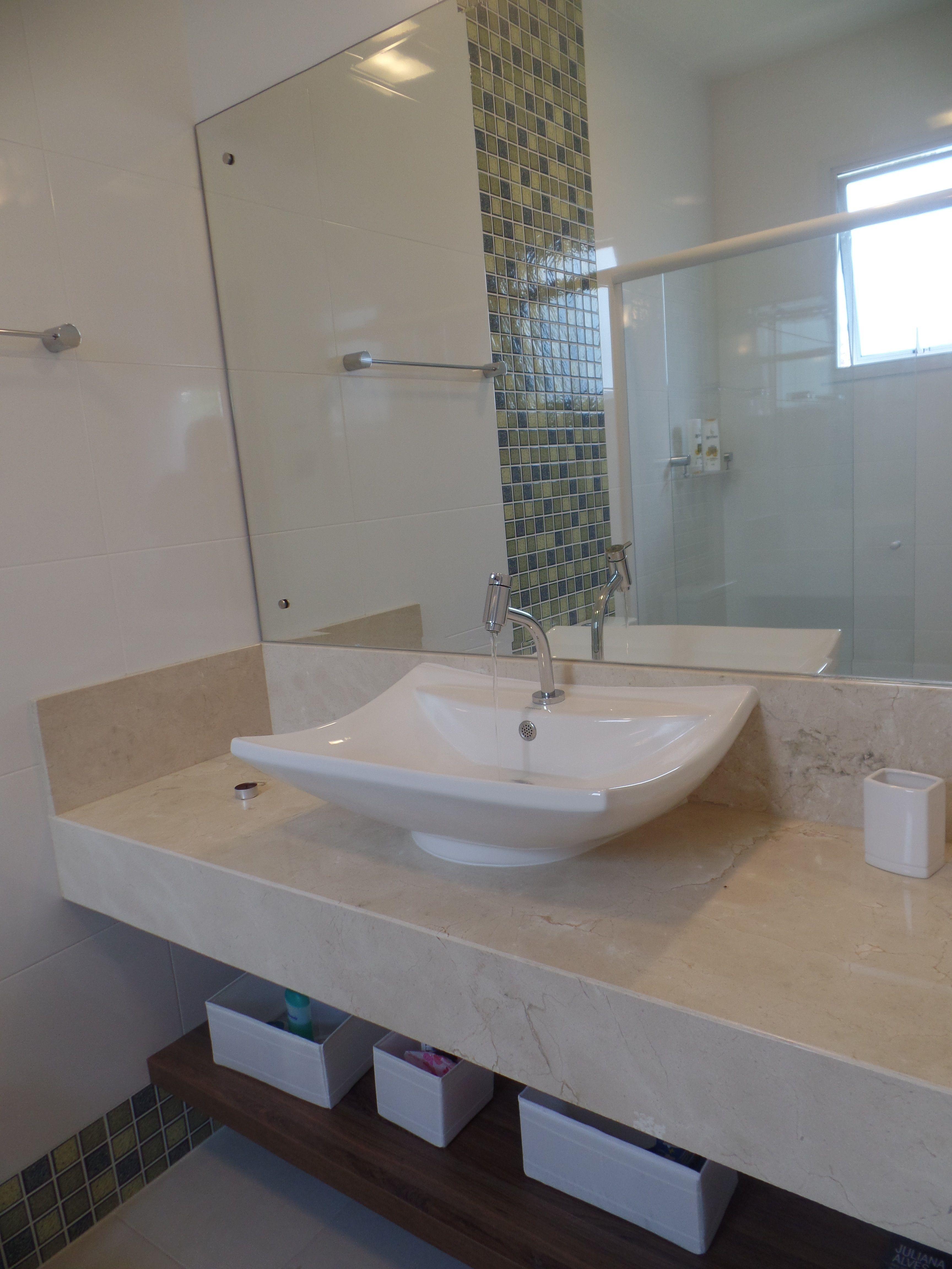 Bancada De Banheiro Em Marmore Crema Marfil Com Imagens