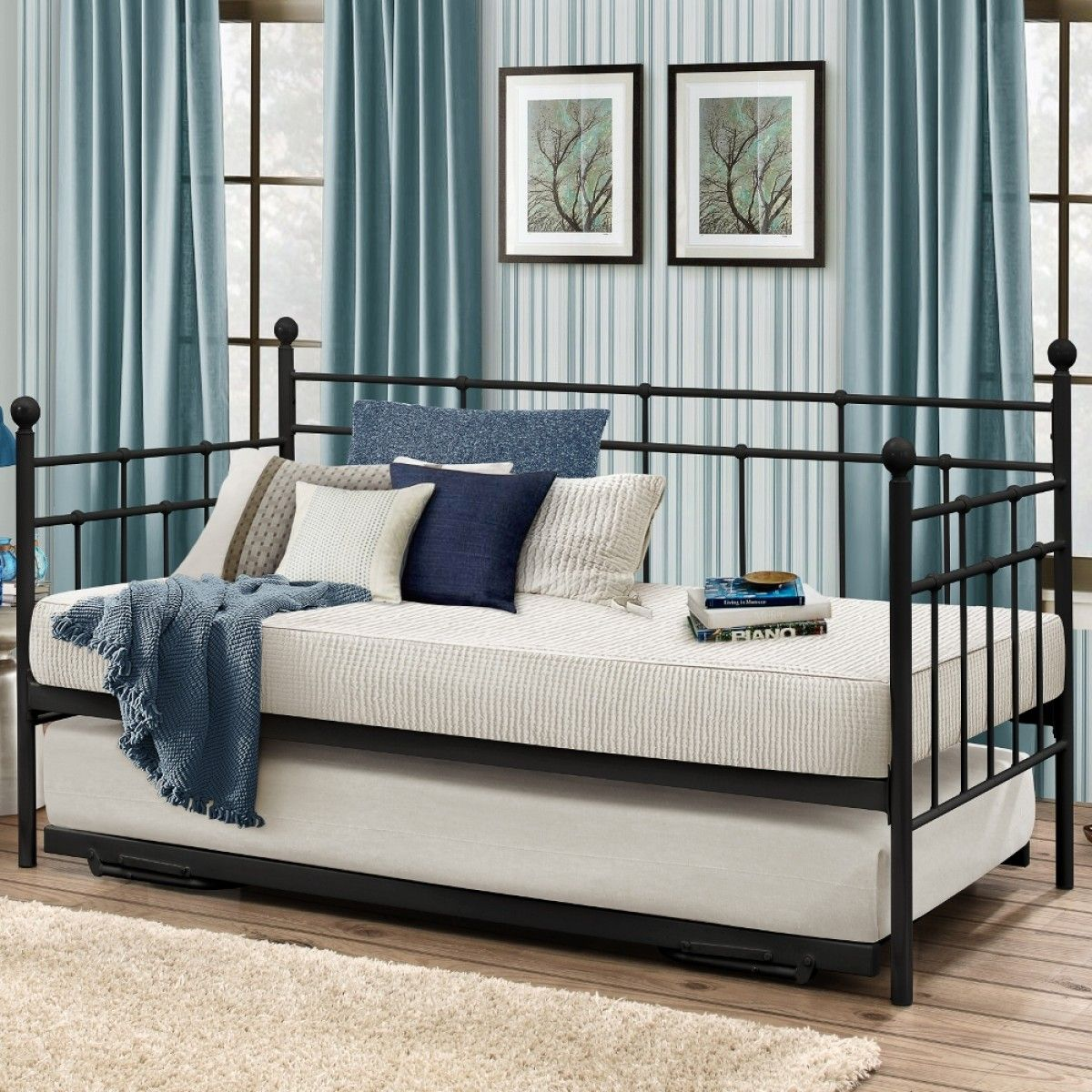 Best Lyon Black Metal Guest Bed With Trundle Luxury Bed 400 x 300