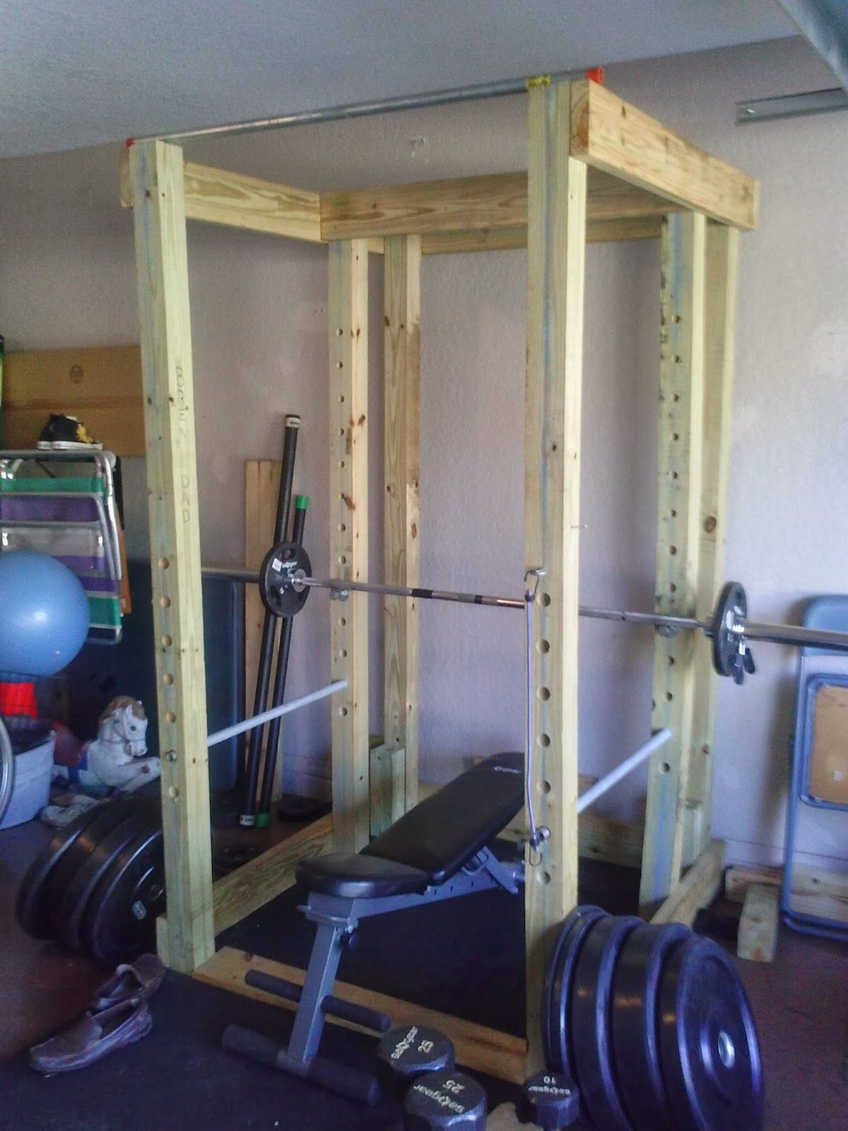 Homemade wooden power rack cage the