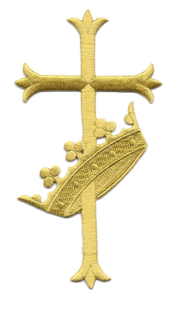 Fleur Cross Wcrown Liturgical Vestment Embroidered Iron On Symbol
