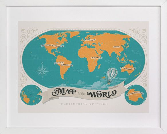 Map Of The World by GeekInk Design at minted.com