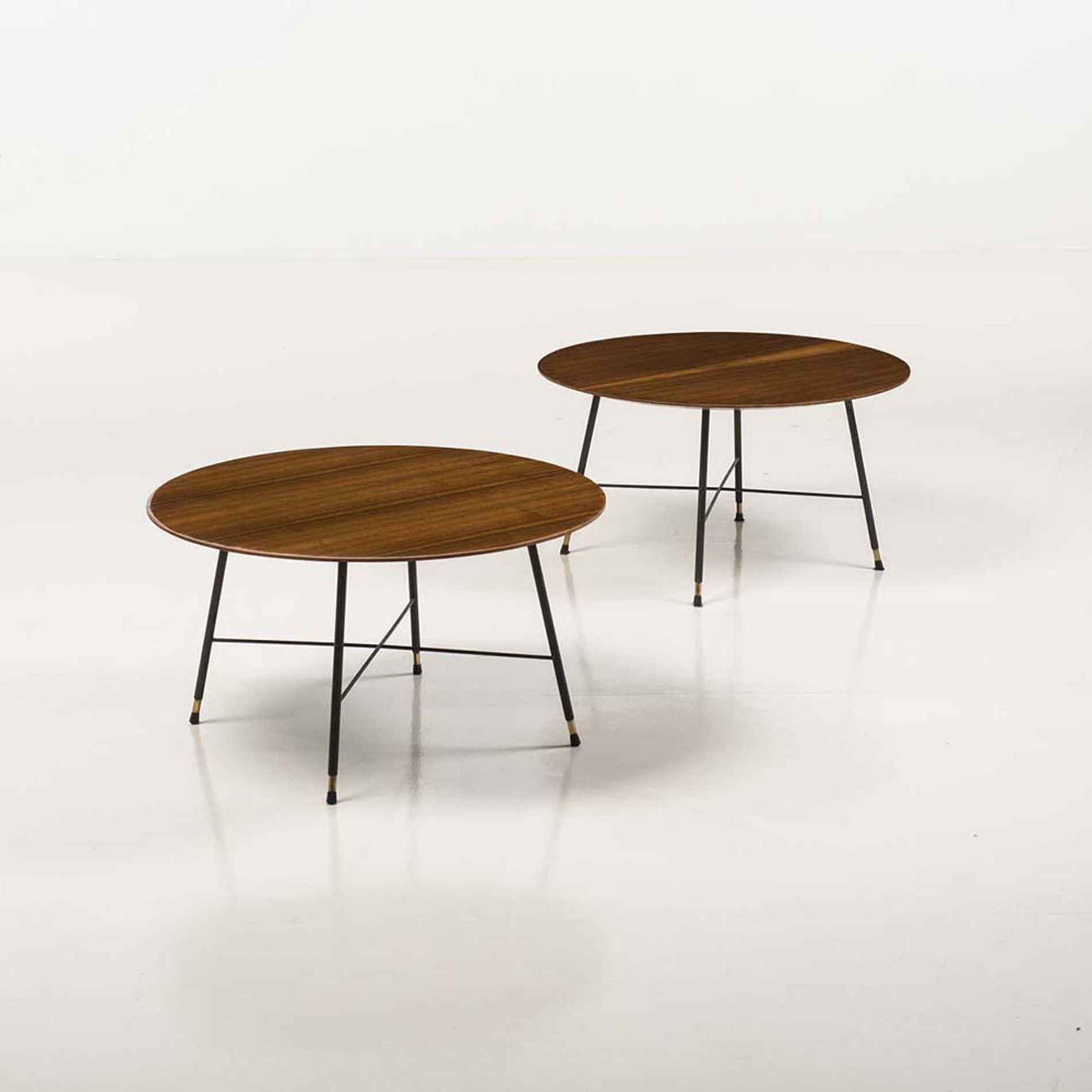 Ico Parisi Enameled Metal Brass and Wood Coffee Tables 1950s