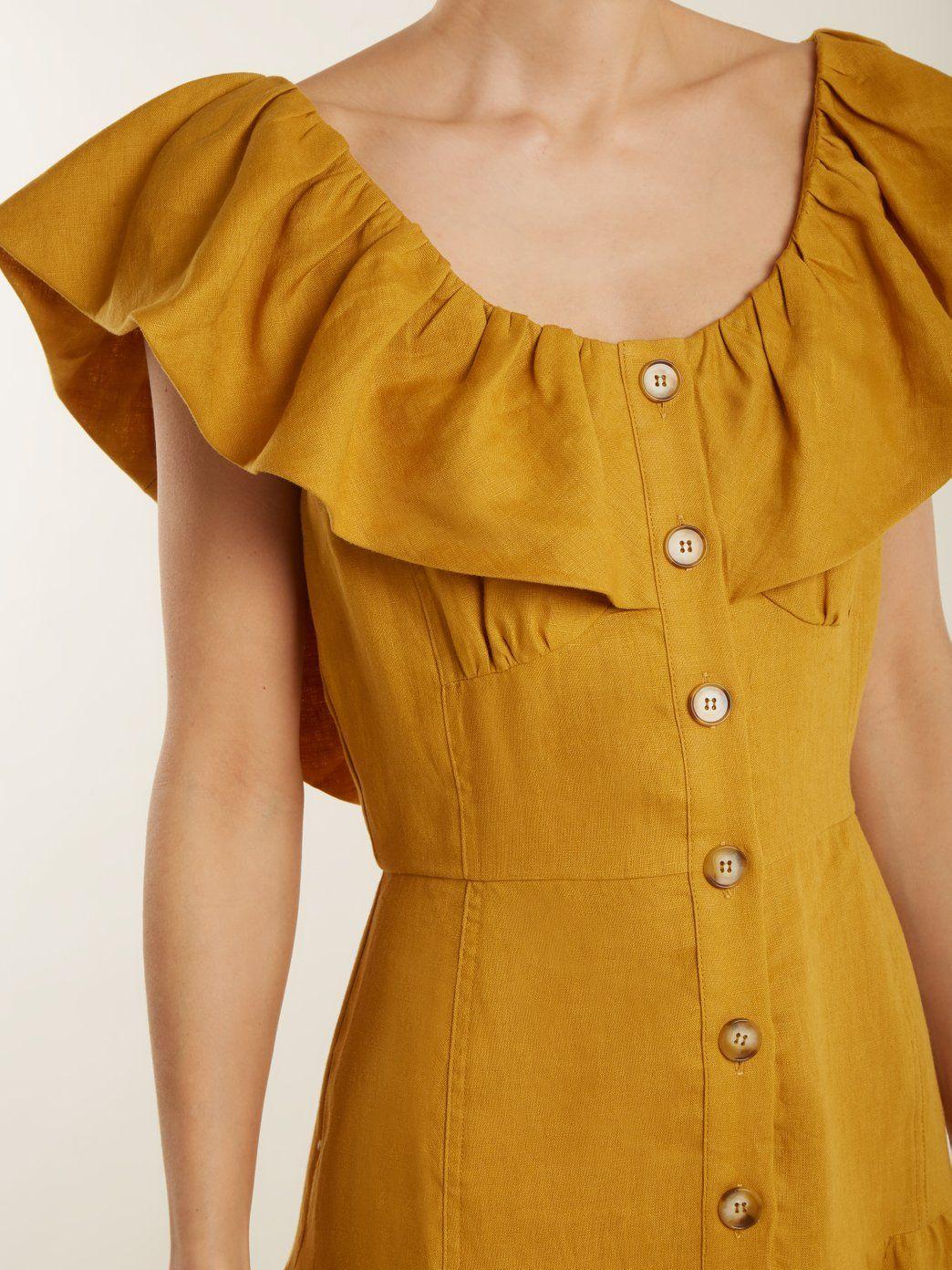 284bd064ca1 Goldie dropped-waist ruffled-neck linen dress