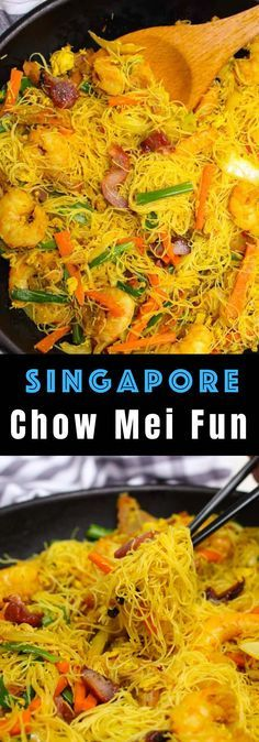 Chow Mei Fun is a classic Cantonese dish made with thin rice noodles vegetables and pork or shrimp although there are many substitutions possible. It's pure comfort food that's ready in just 20 minutes! #chowmeifun @singaporenoodles #hurricanefoodideas