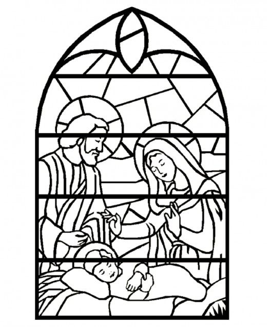 Stained Glass Nativity Coloring Page