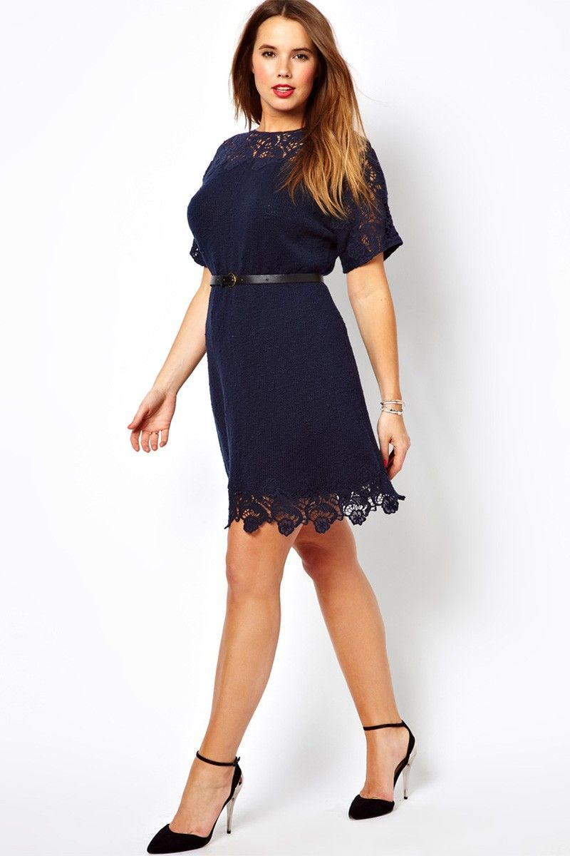 Navy blue cocktail dress plus size