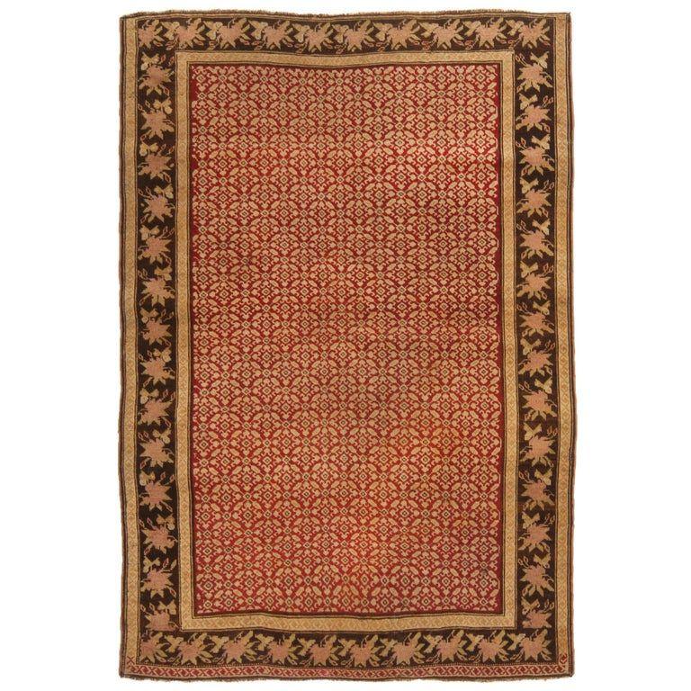 Antique Karabagh Traditional Red And Golden Beige Wool Rug Scandinavian Rug Rugs Rugs On Carpet