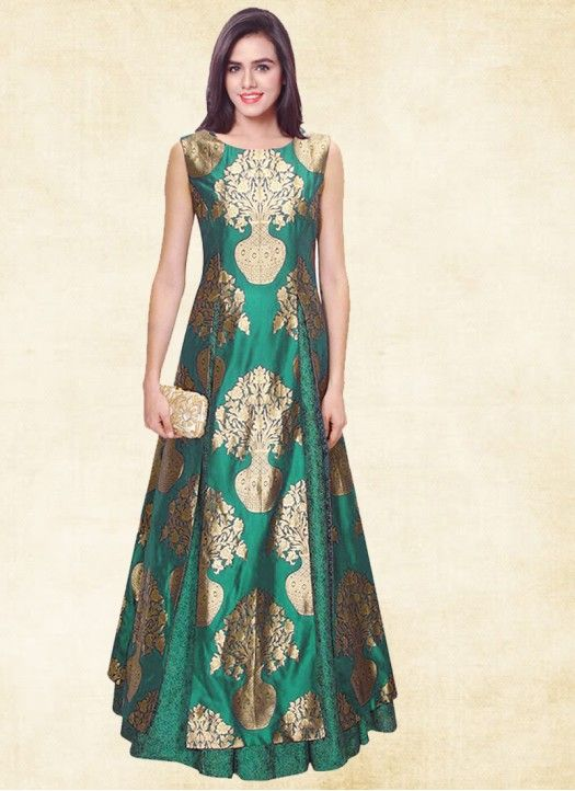 304b184a9b3fa New Green Jacquard & Russell Net Designer Indo Western | Designer ...