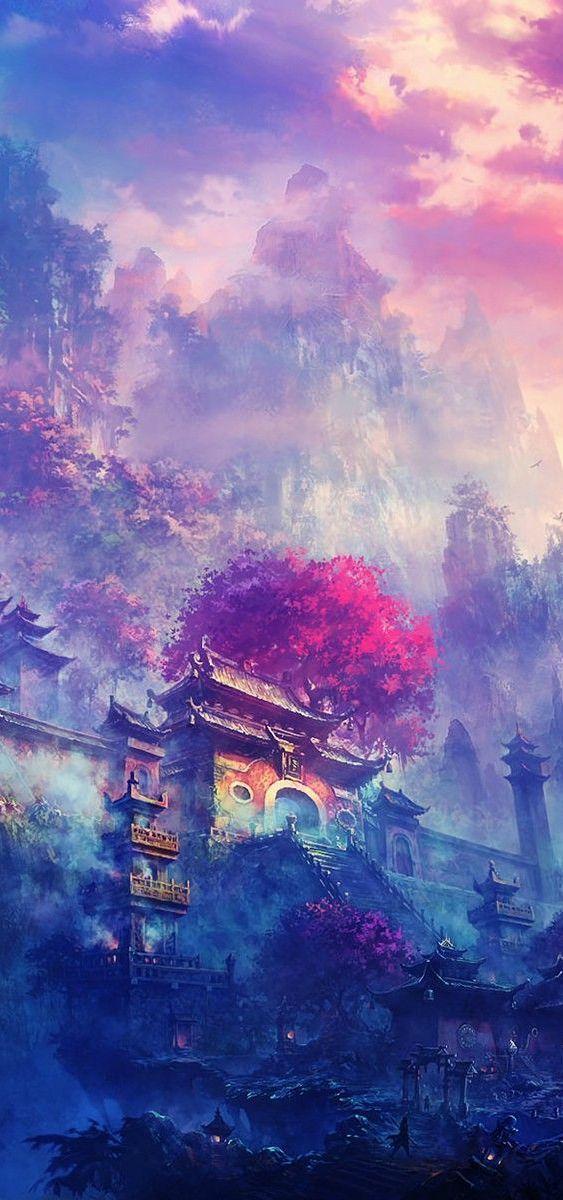 Village in the Mountains Fantasy landscape, Landscape