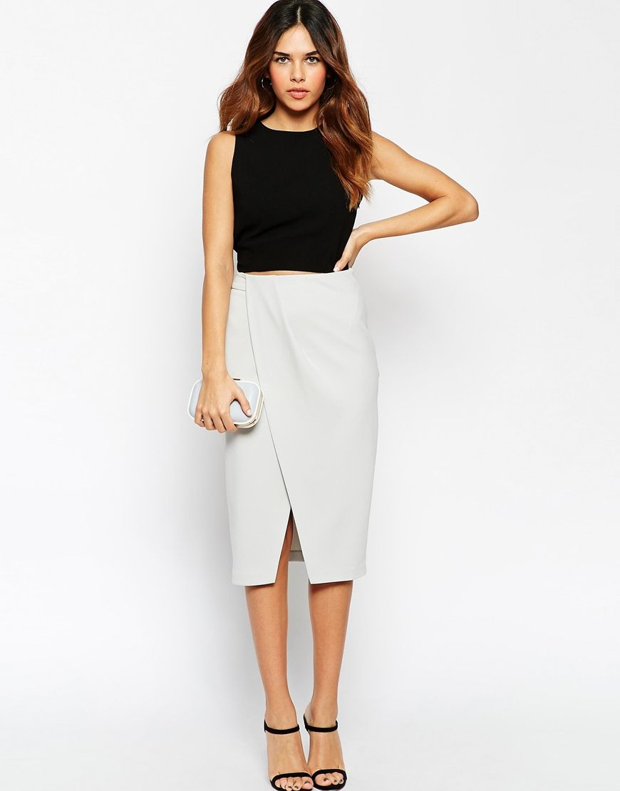 ASOS pencil skirt with wrap front