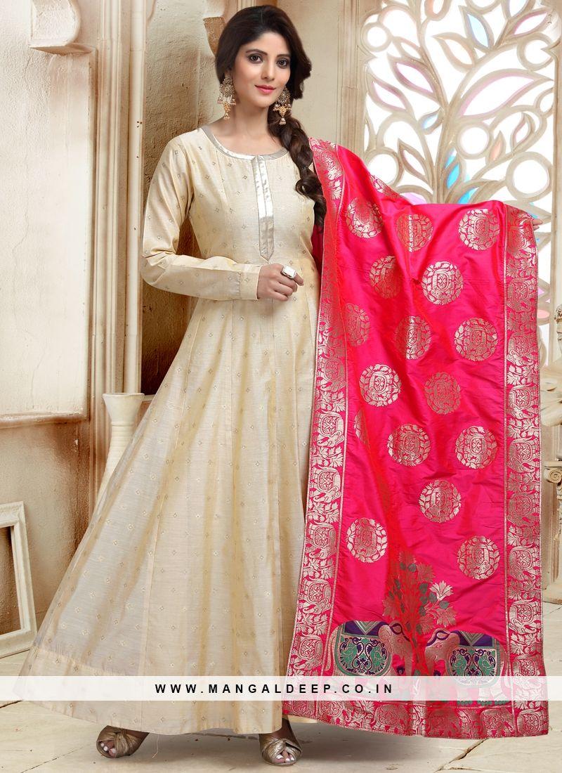 2f05526c78 Cream Readymade Anarkali Suit With Banarasi Silk Dupatta | Anarkali ...