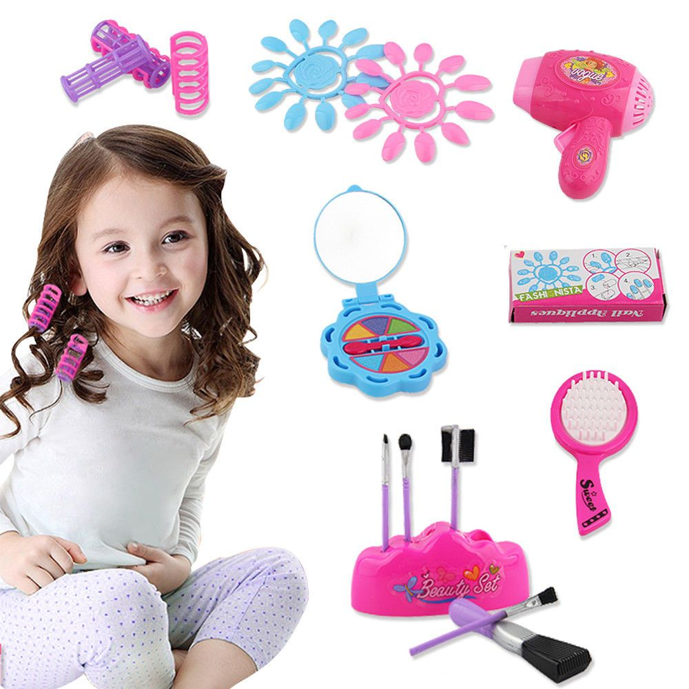 Cosmetic hairdressing game toy set makeup hairdryer pretend roleplay