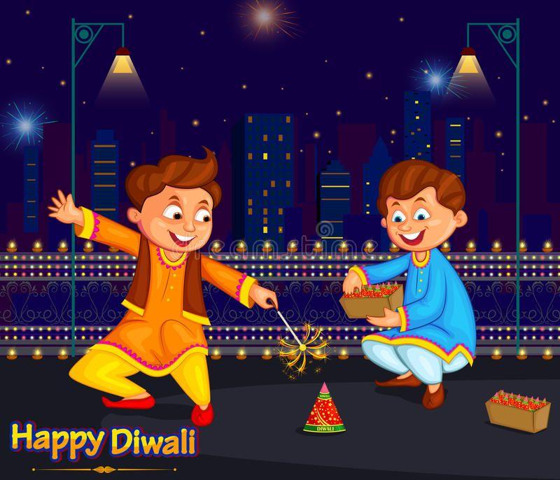 Kids Enjoying Firecracker Celebrating Diwali Festival Of India In Vector Aff Firecracker Celebrat Diwali Festival Festivals Of India Vintage Poster Art