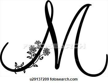Monogram Alphabet Capital Lettered M Script Clip Art S And