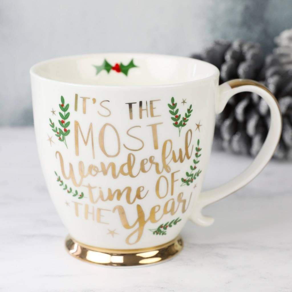 this festive mug is the perfect piece of kitchenware to add some christmas spirit made from white ceramic with the most wonderful time of the year - Christmas Mug