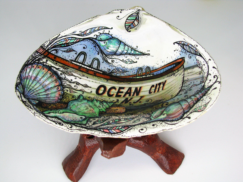 Ocean City Nj Personalized Gift Seashell Jewelry Personalized Etsy Seashell Art Custom Ring Dish Sea Shell Decor